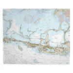 Fl: Key Largo, Fl (Close Up) Nautical Chart Blanket   Florida Keys Nautical Map