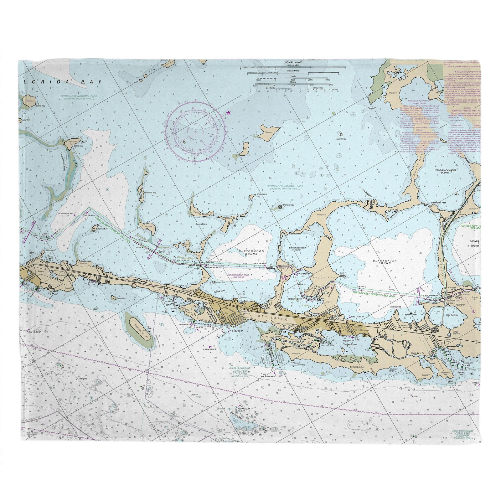 Fl: Key Largo, Fl (Close Up) Nautical Chart Blanket - Florida Keys Nautical Map