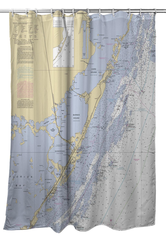 Fl: Key Largo, Fl Nautical Chart Shower Curtain - Florida Map Shower Curtain