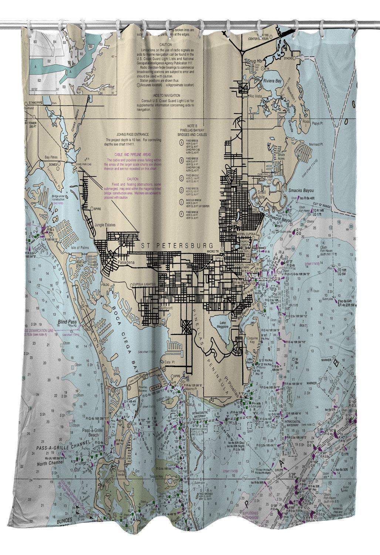 Fl: St. Petersburg Fl Nautical Chart Shower Curtain Map   Etsy - Florida Map Shower Curtain