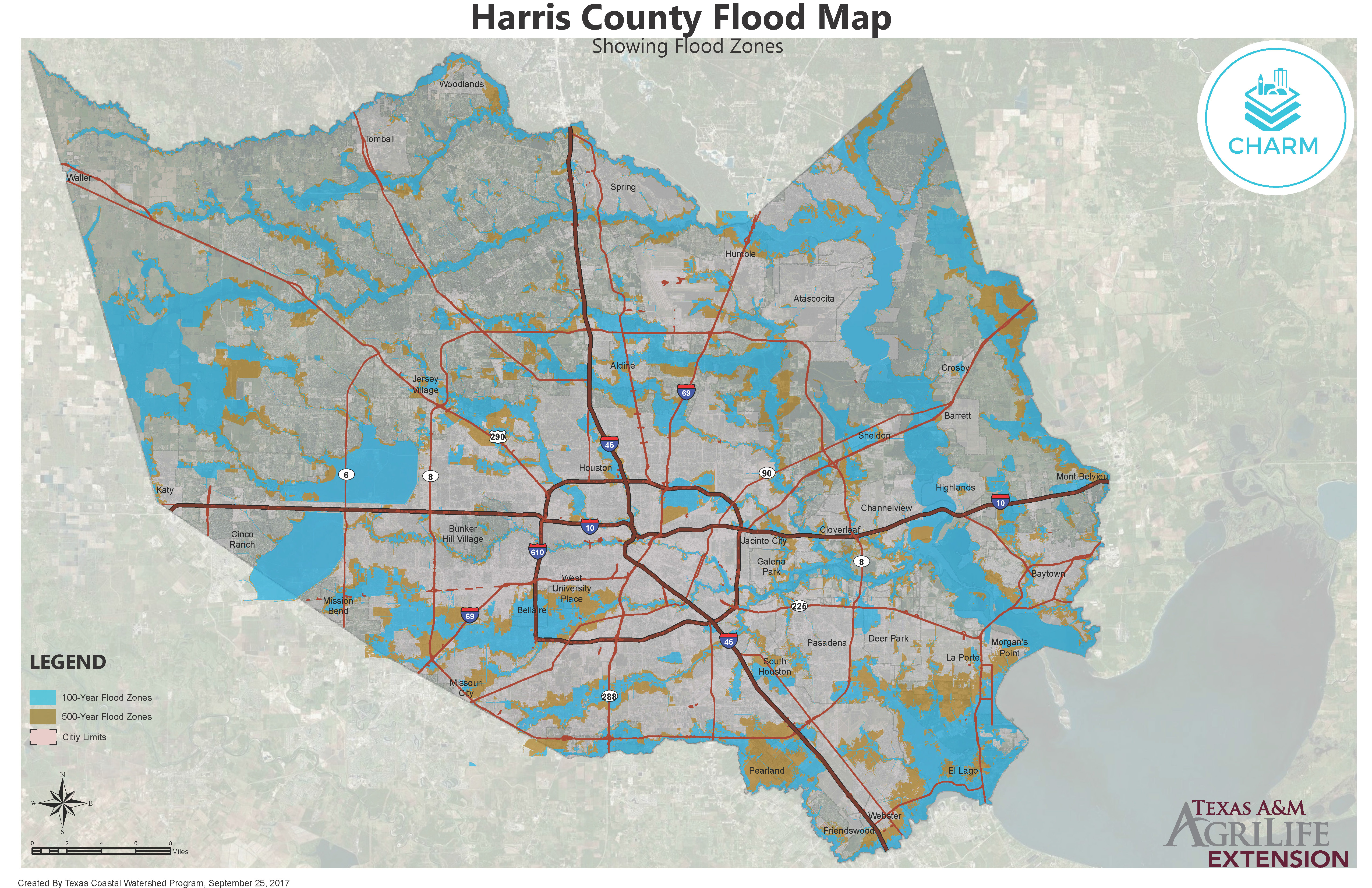 Flood Zone Maps For Coastal Counties | Texas Community Watershed - Houston Texas Flood Map