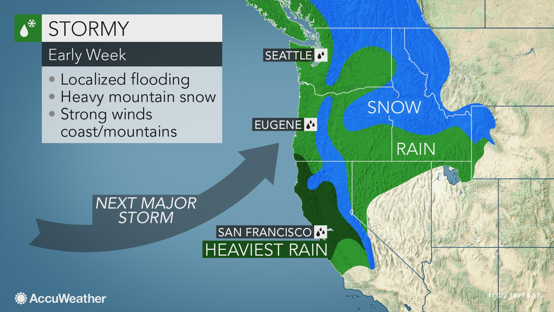 Flooding Mudslides To Threaten Map California Northern California - California Coast Weather Map