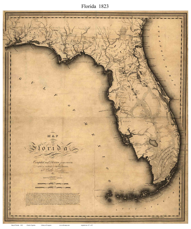 Florida 1823 State Mapvignoles Reprint | Etsy - Florida Old Map
