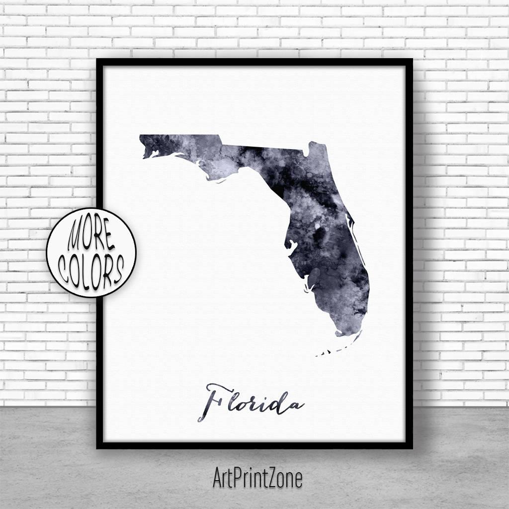 Florida Art Print Florida Decor Florida Print Florida Map Art Print - Florida Map Artwork