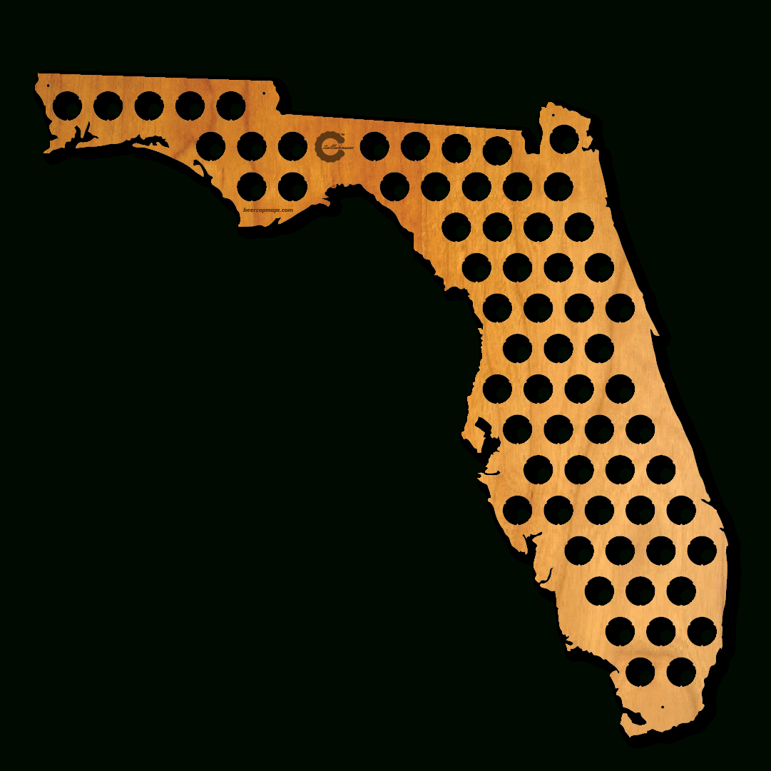 Florida Beer Cap Map. A State With Plenty Of Sunny Beaches To Enjoy - Florida Beer Cap Map