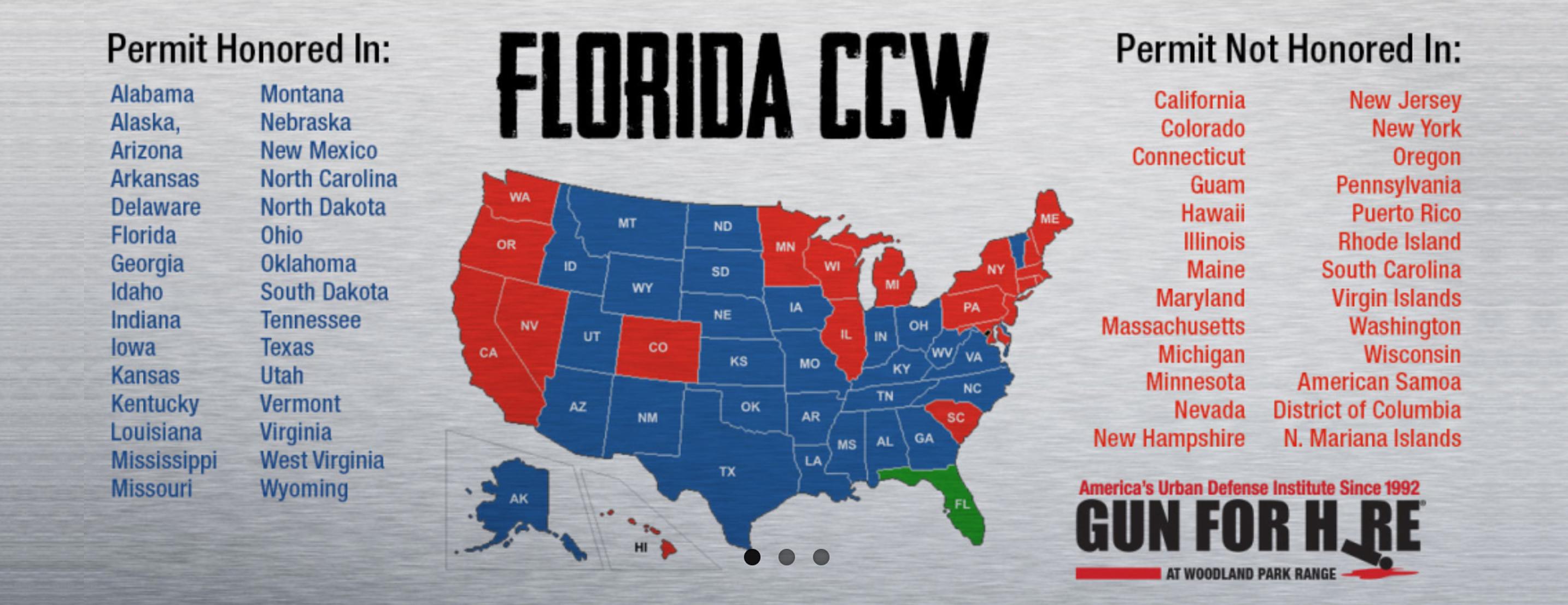 Florida Ccw | Gun For Hire Academy - Florida Ccw Map