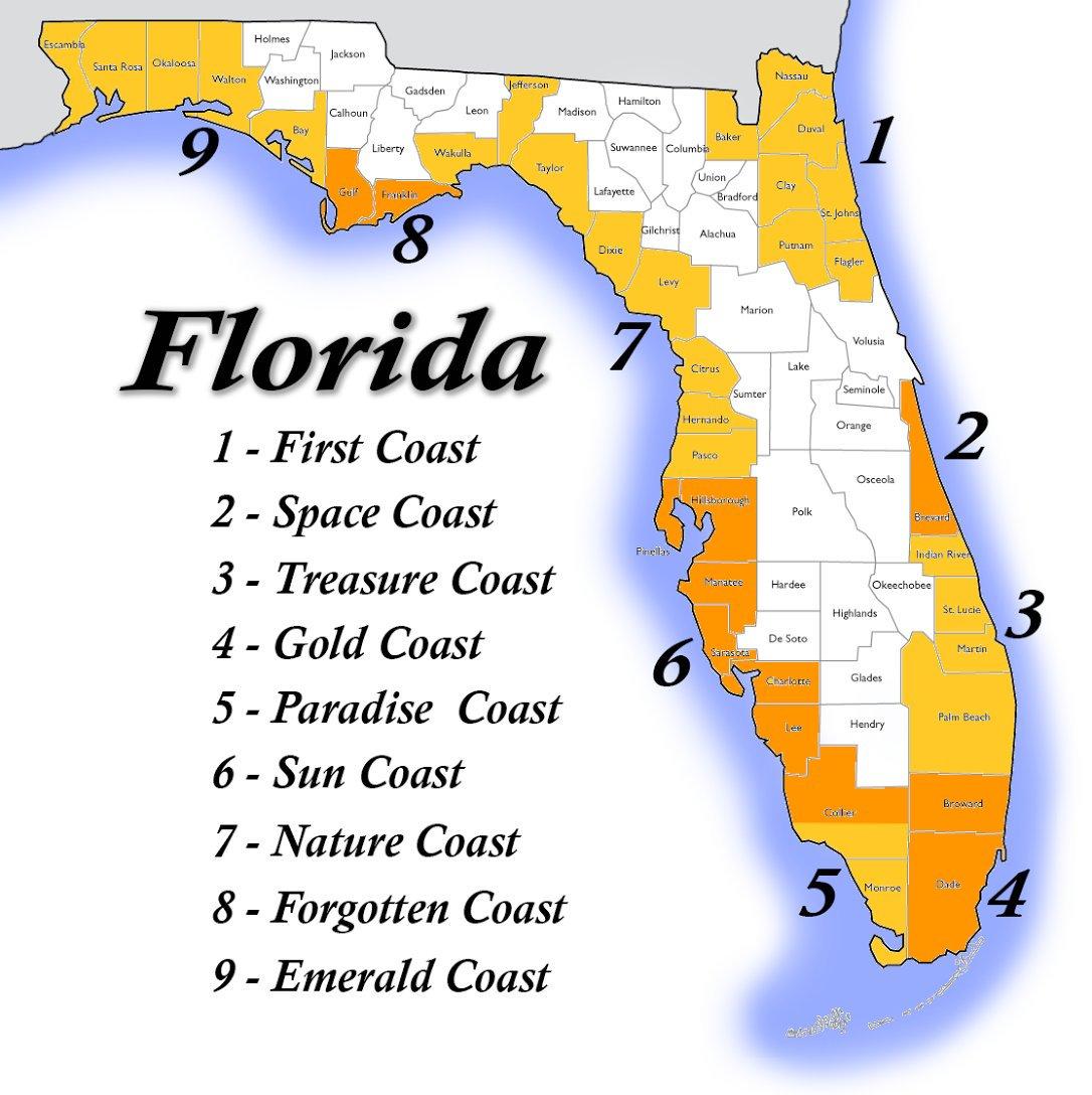 Florida Coast Map And Travel Information | Download Free Florida - Treasure Coast Florida Map