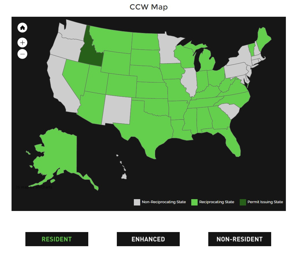 Florida Concealed Carry Reciprocity Map | Printable Maps - Texas Chl Reciprocity Map 2018