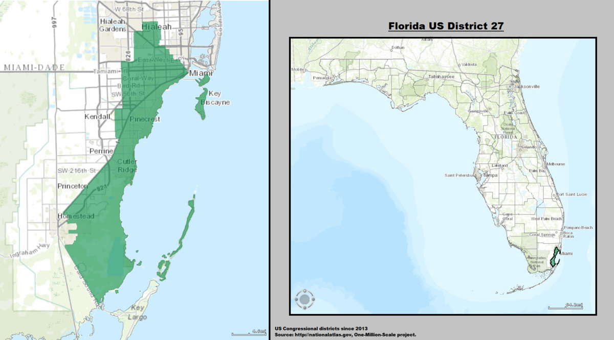 Florida Congressional Districts Map: See Us House Representative - District 27 Florida Map