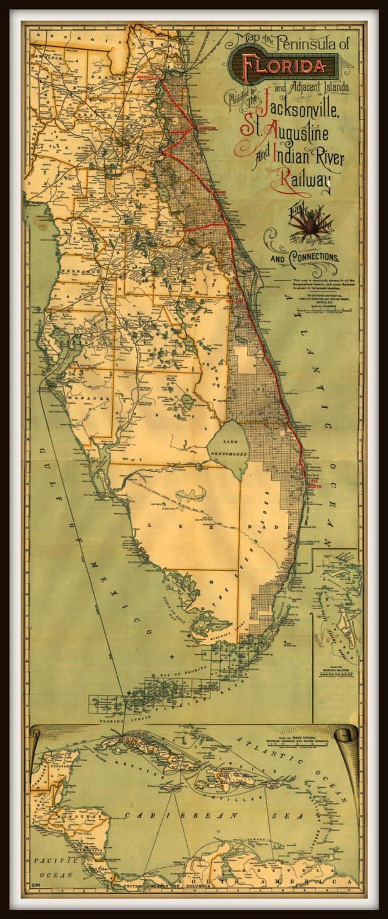 Florida East Coast Railroad Historic Map Print And Islands   Etsy - Map Of Florida East Coast