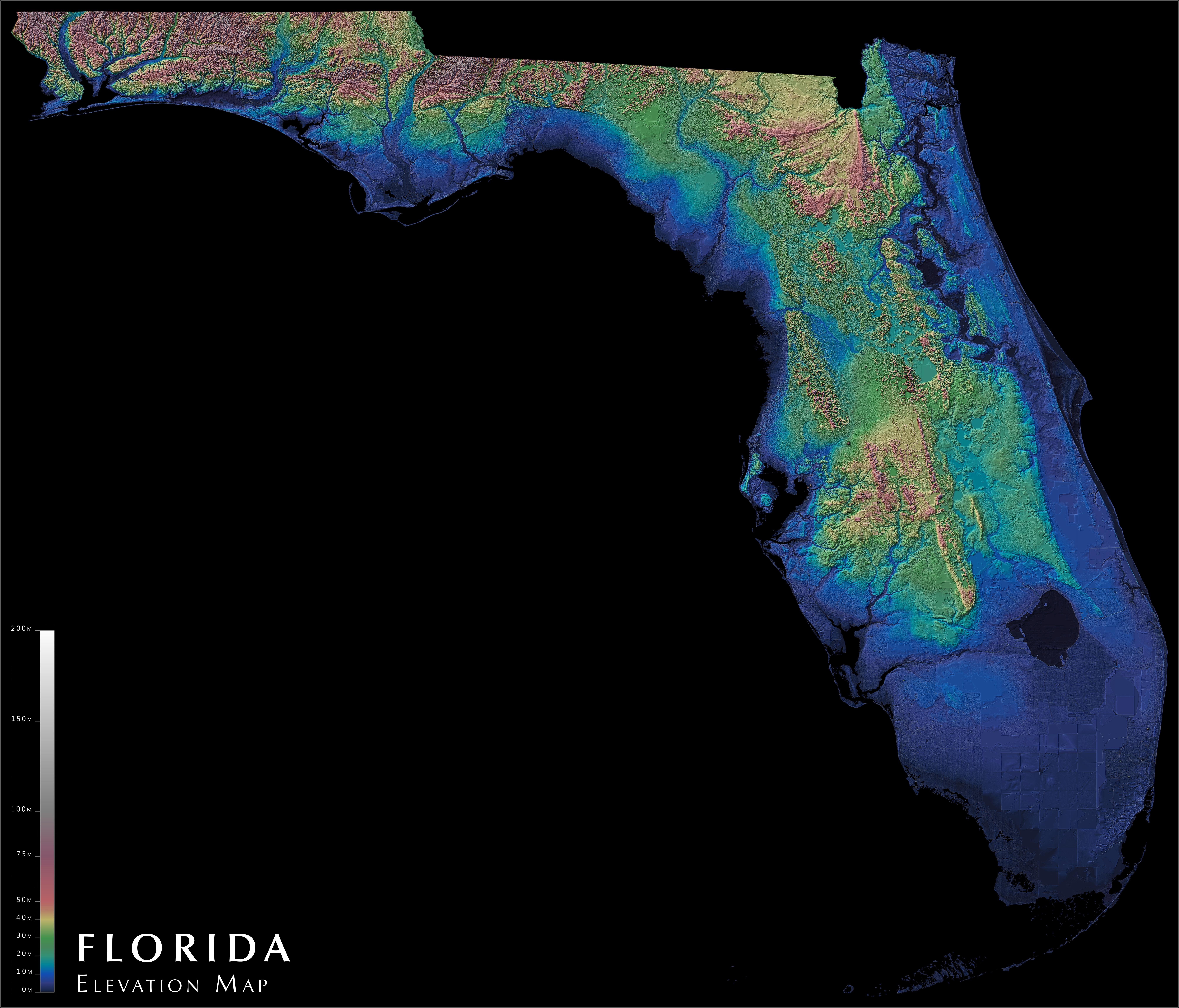 Florida Elevation Map : Florida - Florida Elevation Map