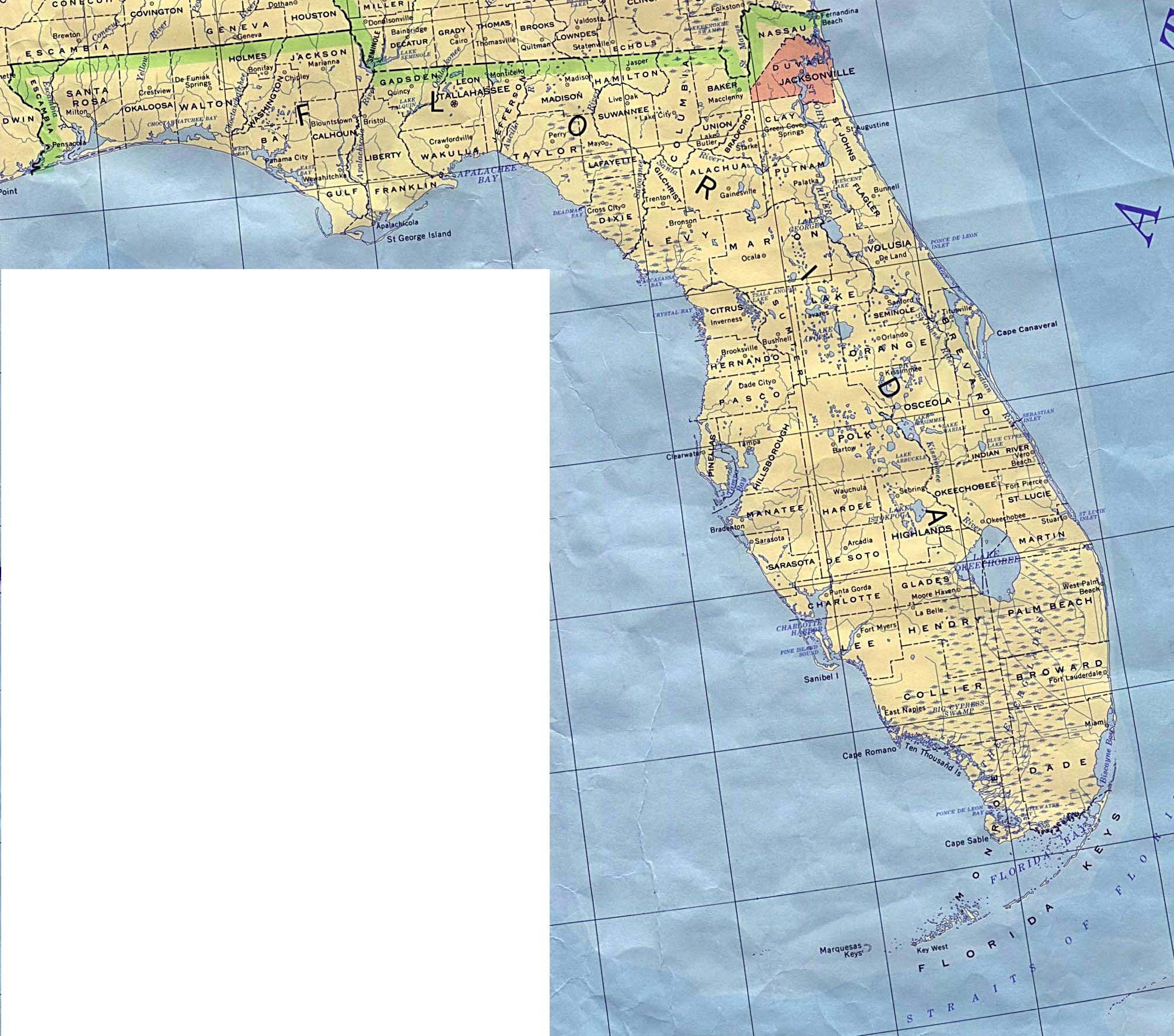 Florida Elevation Map - Florida Topographic Map Free
