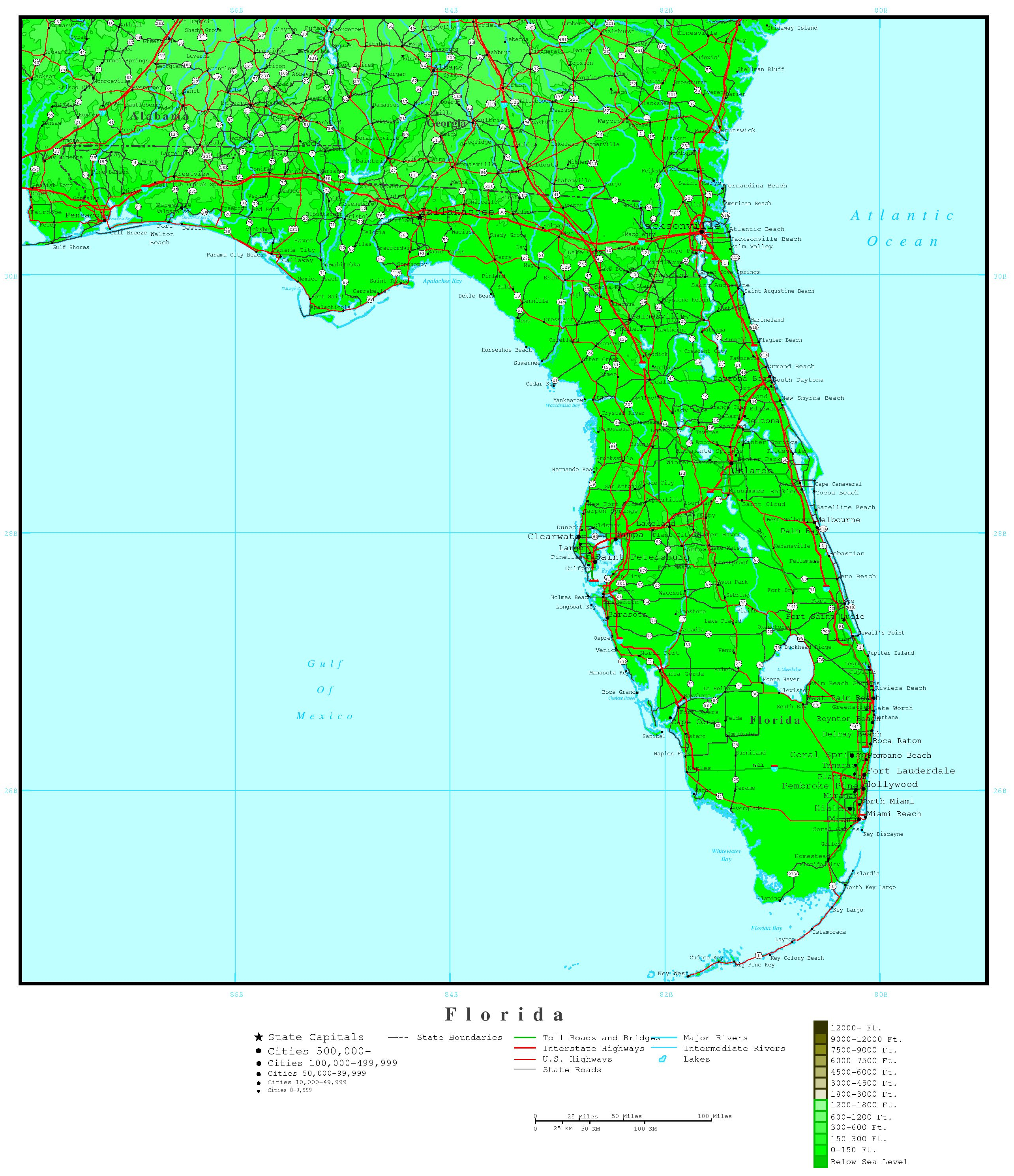 Florida Elevation Map - Topographic Map Of Florida Elevation