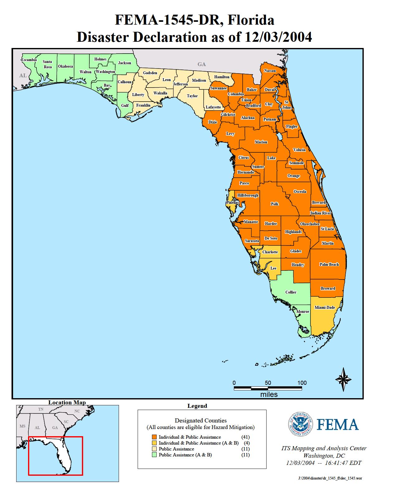 Florida Hurricane Frances (Dr-1545) | Fema.gov - Fema Flood Maps Marion County Florida