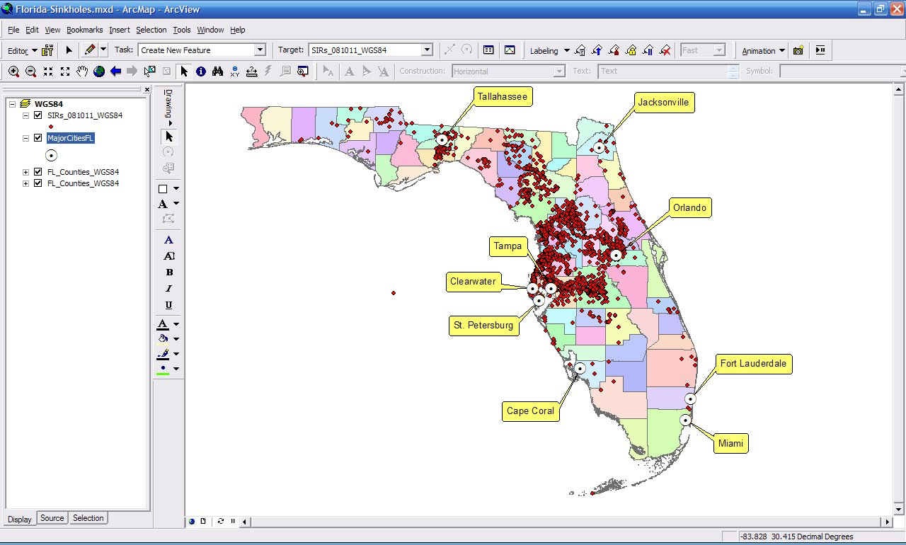 Florida Karst Sinkhole Information And Gis - Interactive Sinkhole Map Florida
