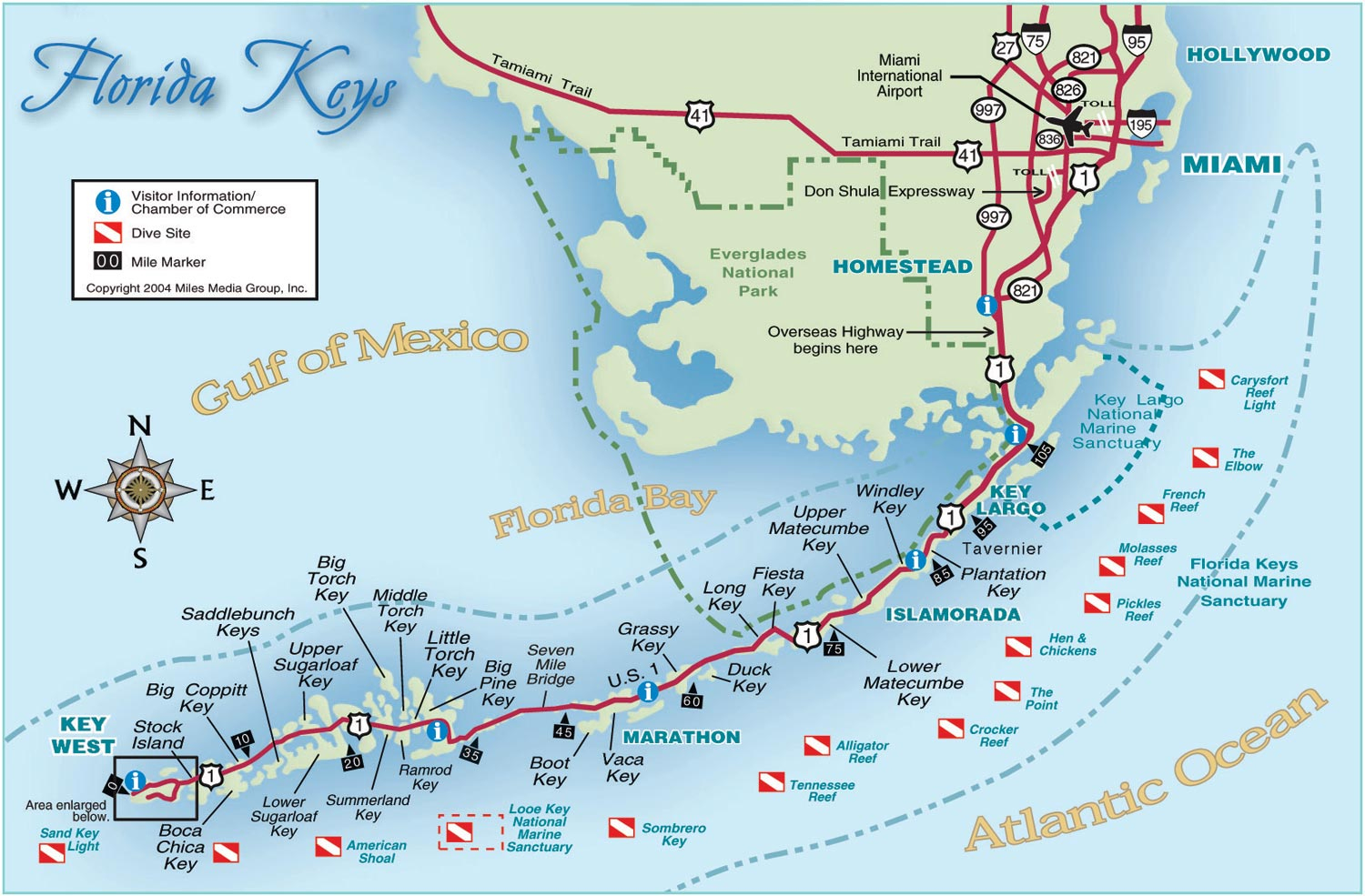 Florida Keys And Key West Real Estate And Tourist Information - Map Of Florida Keys And Miami