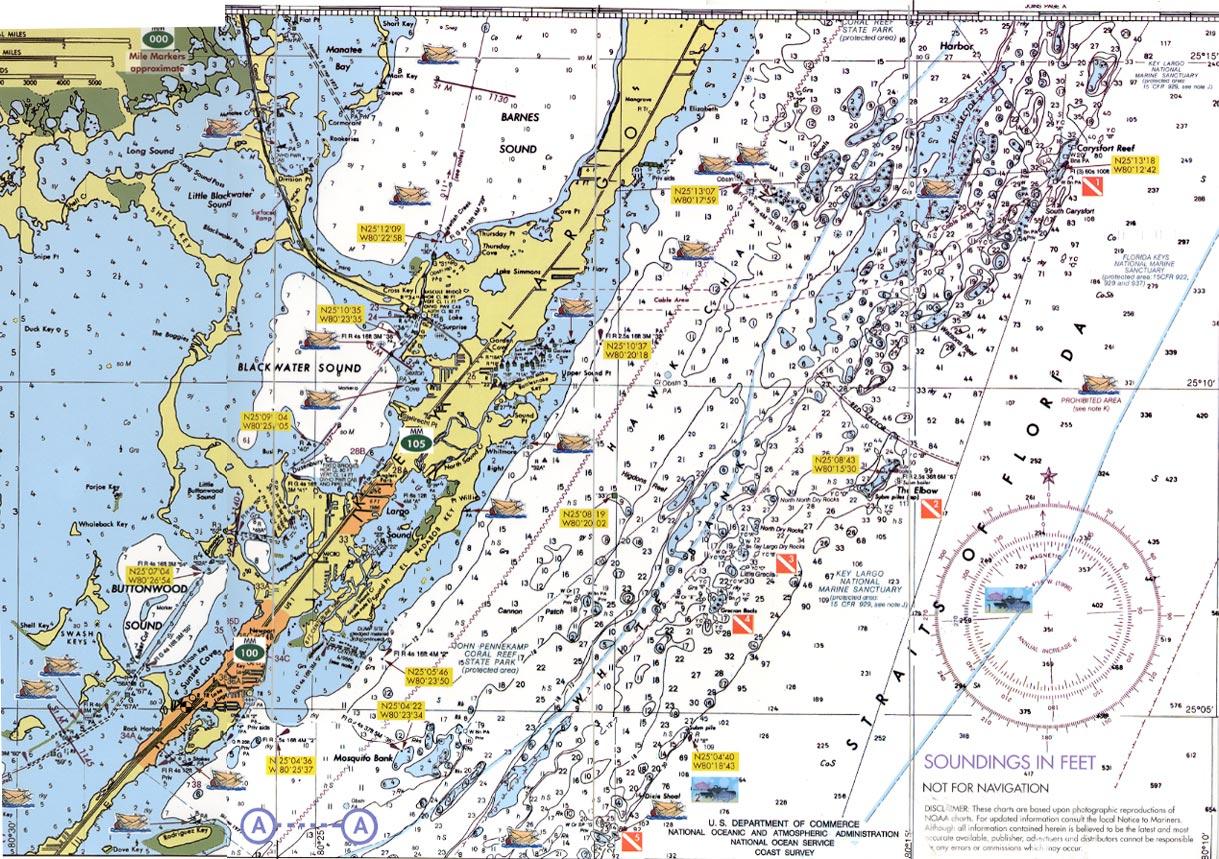 Florida Keys Dive Charts - Water Depth Map Florida