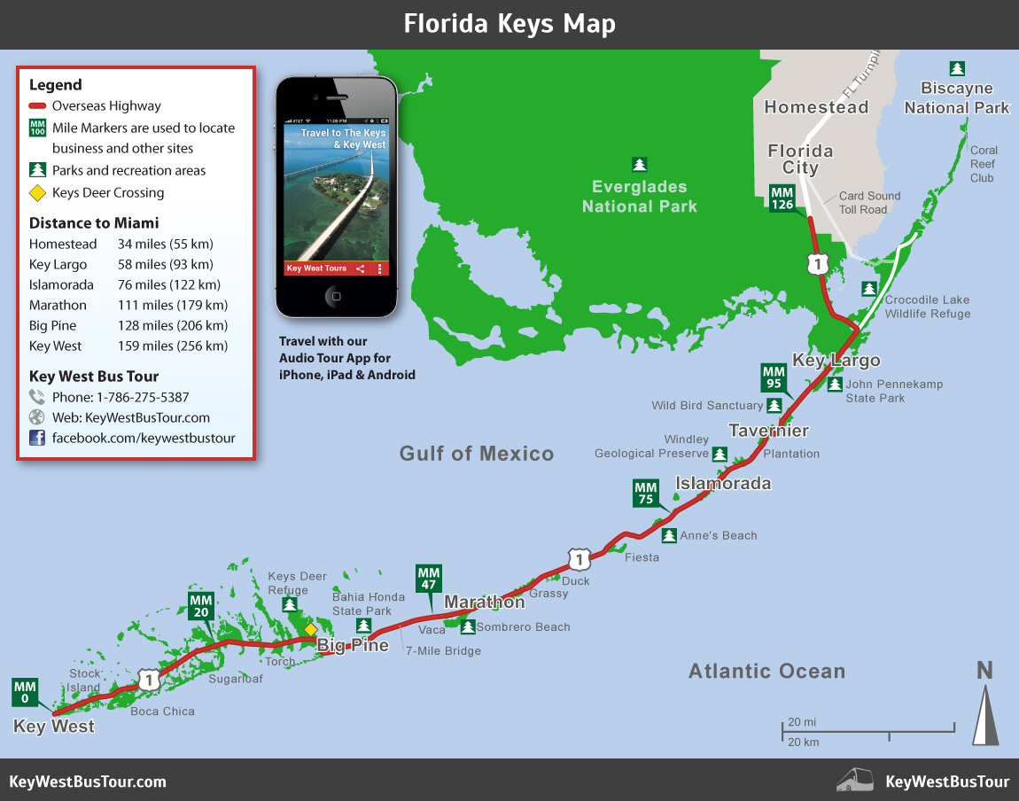 Florida Keys Map :: Key West Bus Tour - Florida Keys Highway Map
