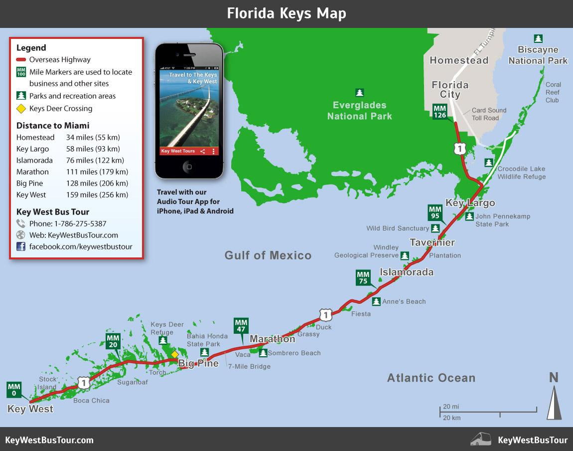 Florida Keys Map :: Key West Bus Tour - Map Of Florida Keys And Miami