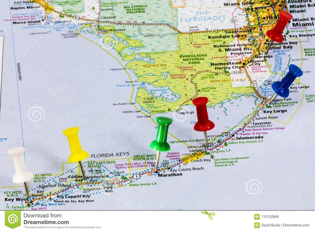 Florida Keys Miami Map Editorial Image. Image Of Miami - 110152840 - Florida Travel Guide Map