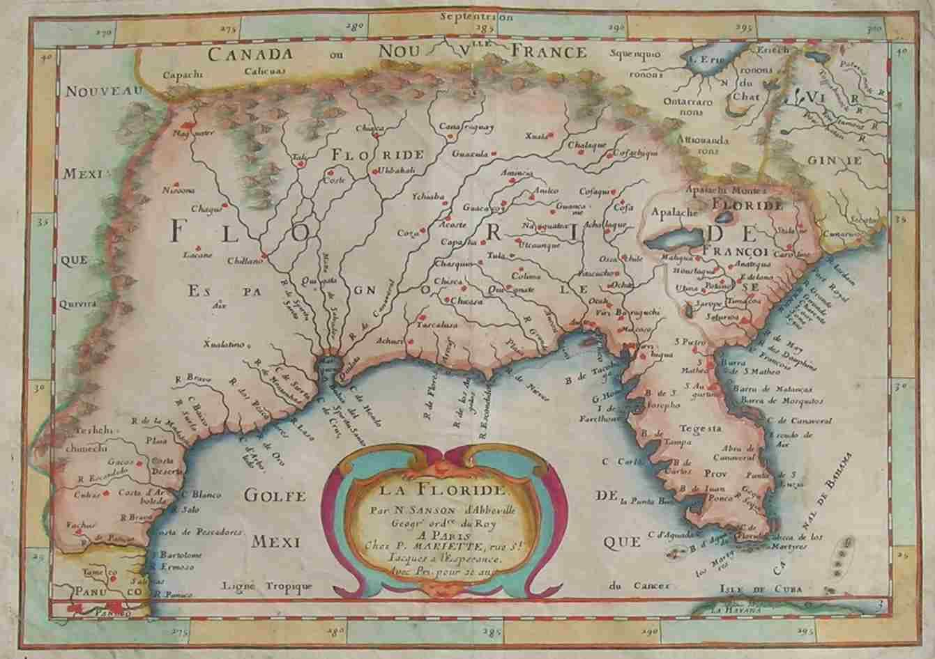 Florida Louisiana La Floride || Maphouse Antique Maps | Michael - Florida Louisiana Map