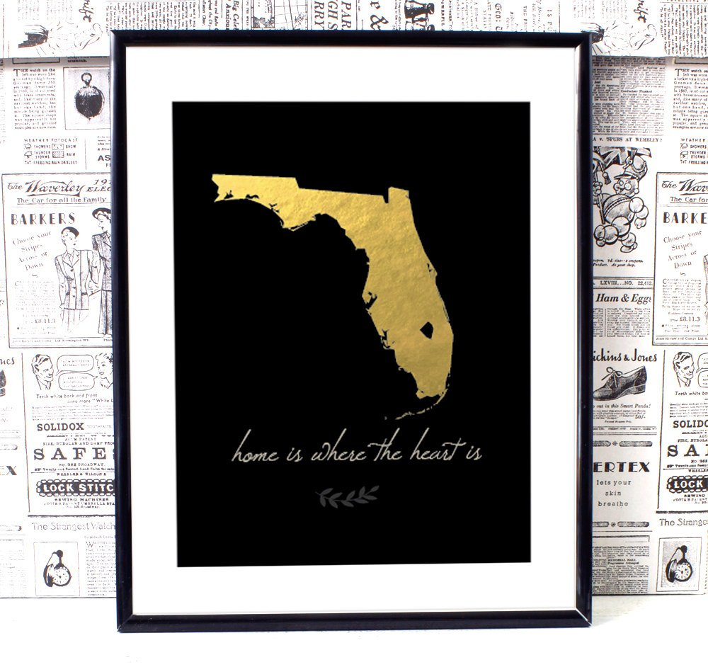 Florida Map Art Florida Wall Art Printable Wall Art   Etsy - Map Of Florida Wall Art