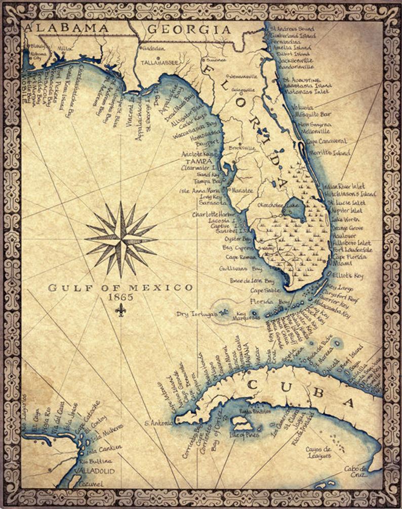 Florida Map Art Print C .1865 11 X 14 Hand Drawn | Etsy - Old Florida Maps Prints