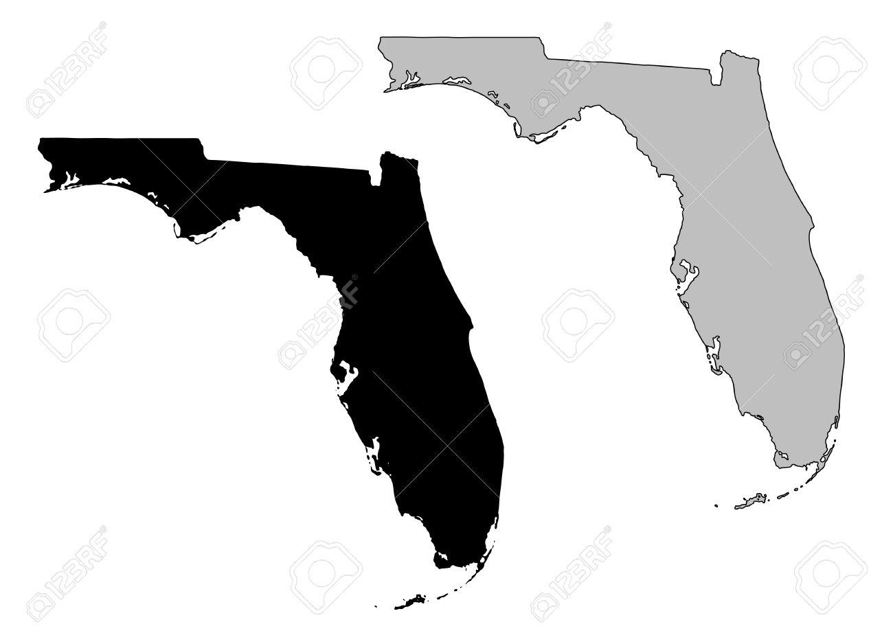 Florida Map. Black And White. Mercator Projection. Royalty Free - Florida Map Black And White