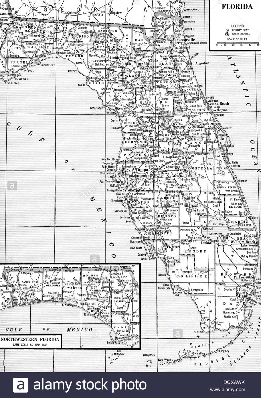 Florida Map Black And White Stock Photos & Images - Alamy - Florida Map Black And White