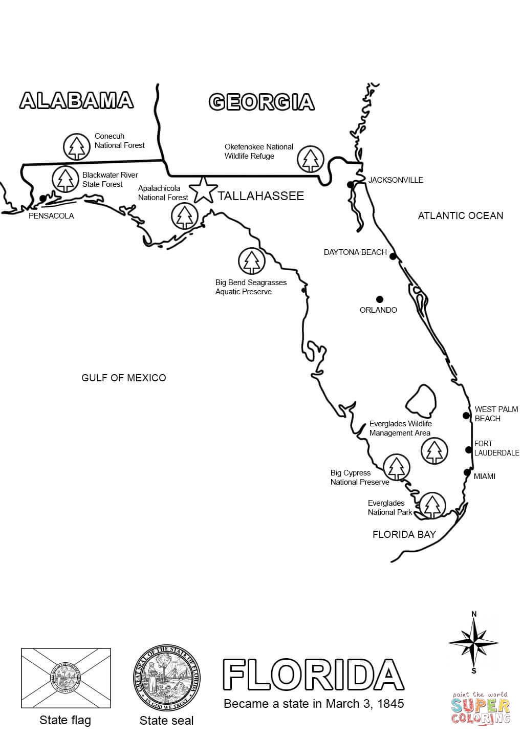Florida Map Coloring Page | Free Printable Coloring Pages - Free Florida Map