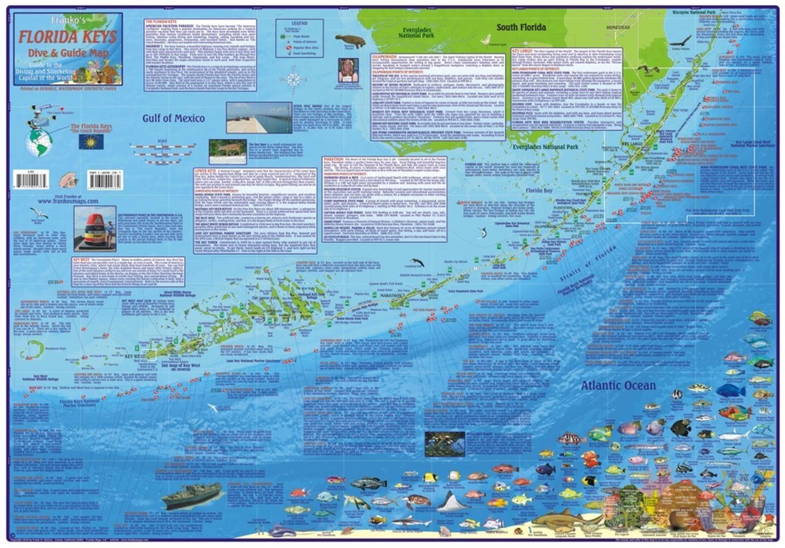 Florida Map, Florida Keys Guide And Dive,laminated, 2010Frankos - Florida Keys Snorkeling Map