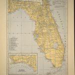 Florida Map Of Florida Wall Art Decor Antique Original Railroad   Florida Map Wall Art