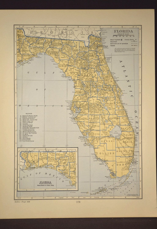 Florida Map Of Florida Wall Art Decor Antique Original Railroad - Florida Map Wall Decor