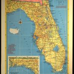 Florida Map Of Florida Wall Art Decor Vintage 1950S Original | Etsy   Florida Map Wall Art