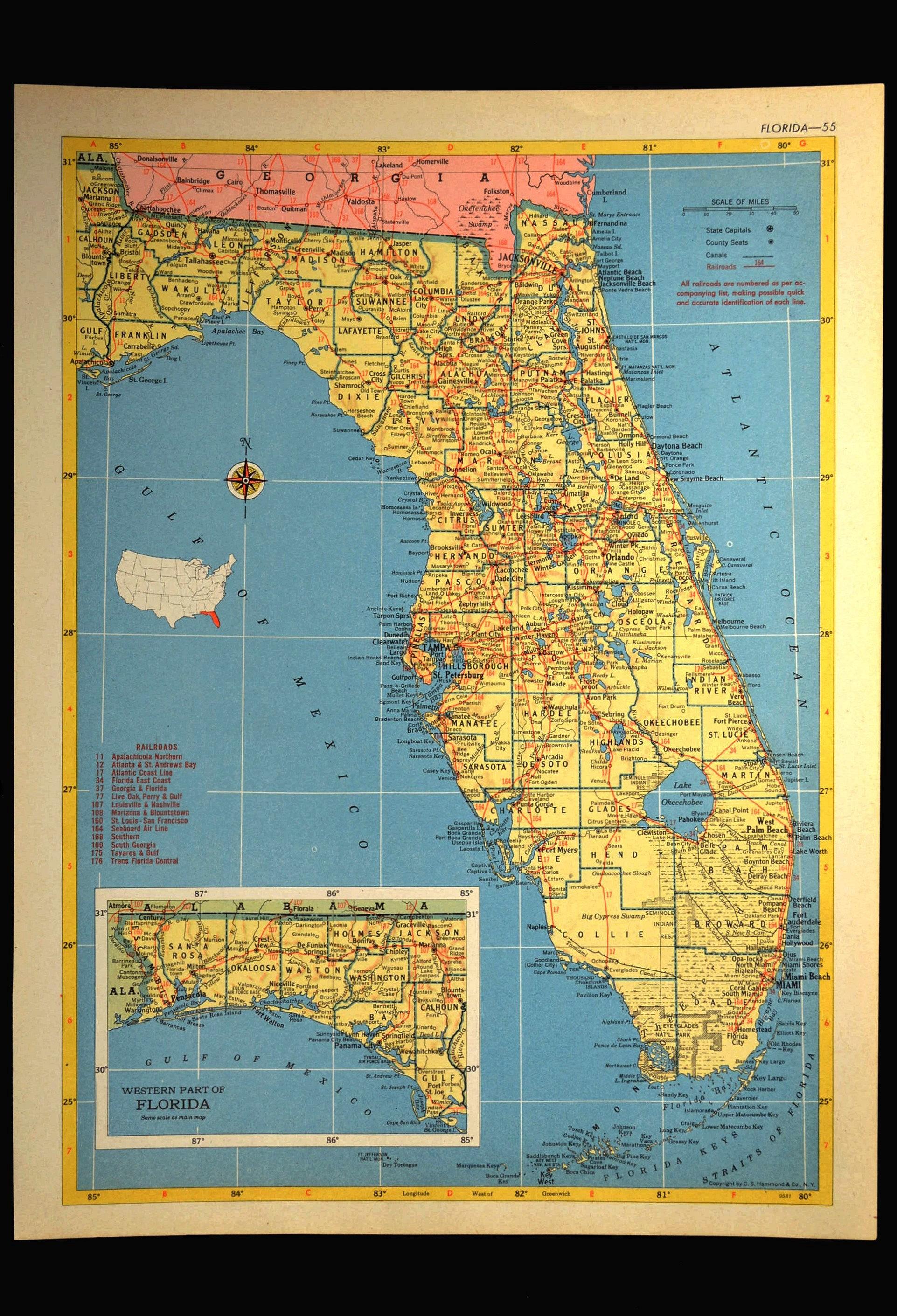 Florida Map Of Florida Wall Art Decor Vintage 1950S Original | Etsy - Florida Map Wall Decor