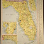 Florida Map Of Florida Wall Art Decor Yellow Original Vintage | Etsy   Florida Map Wall Art