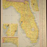 Florida Map Of Florida Wall Art Decor Yellow Original Vintage | Etsy   Florida Map Wall Decor