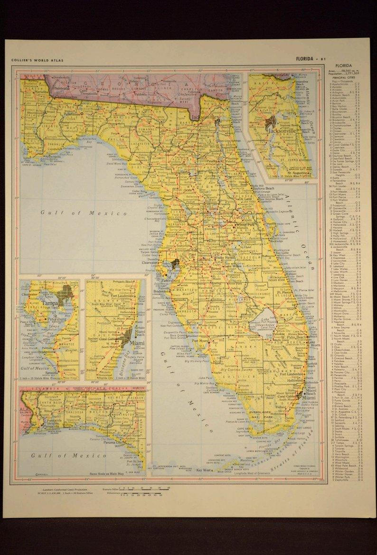 Florida Map Of Florida Wall Art Decor Yellow Original Vintage   Etsy - Map Of Florida Wall Art