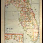 Florida Map Of Florida Wall Decor Art Large Antique Colorful County   Florida Map Wall Decor