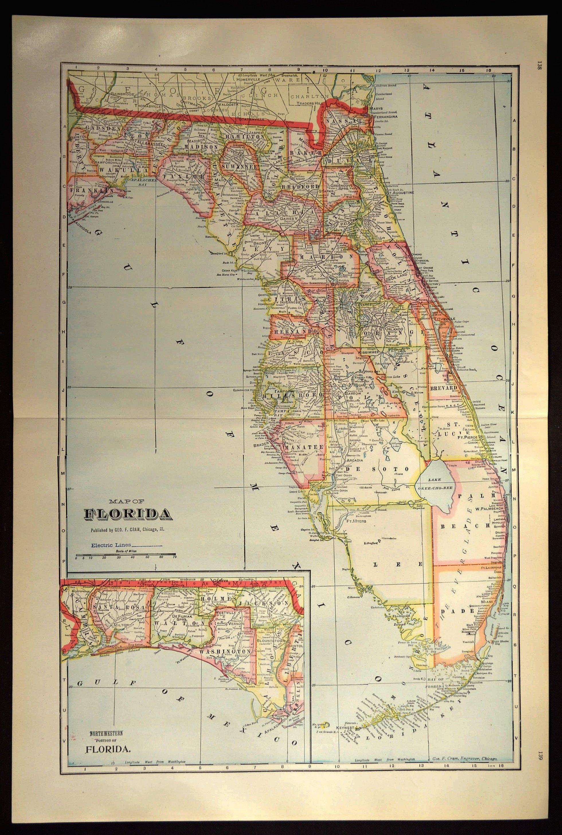 Florida Map Of Florida Wall Decor Art Large Antique Colorful County - Map Of Florida Wall Art