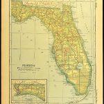 Florida Map Of Florida Wall Decor Art Railroad Antique | Etsy   Florida Map Wall Decor