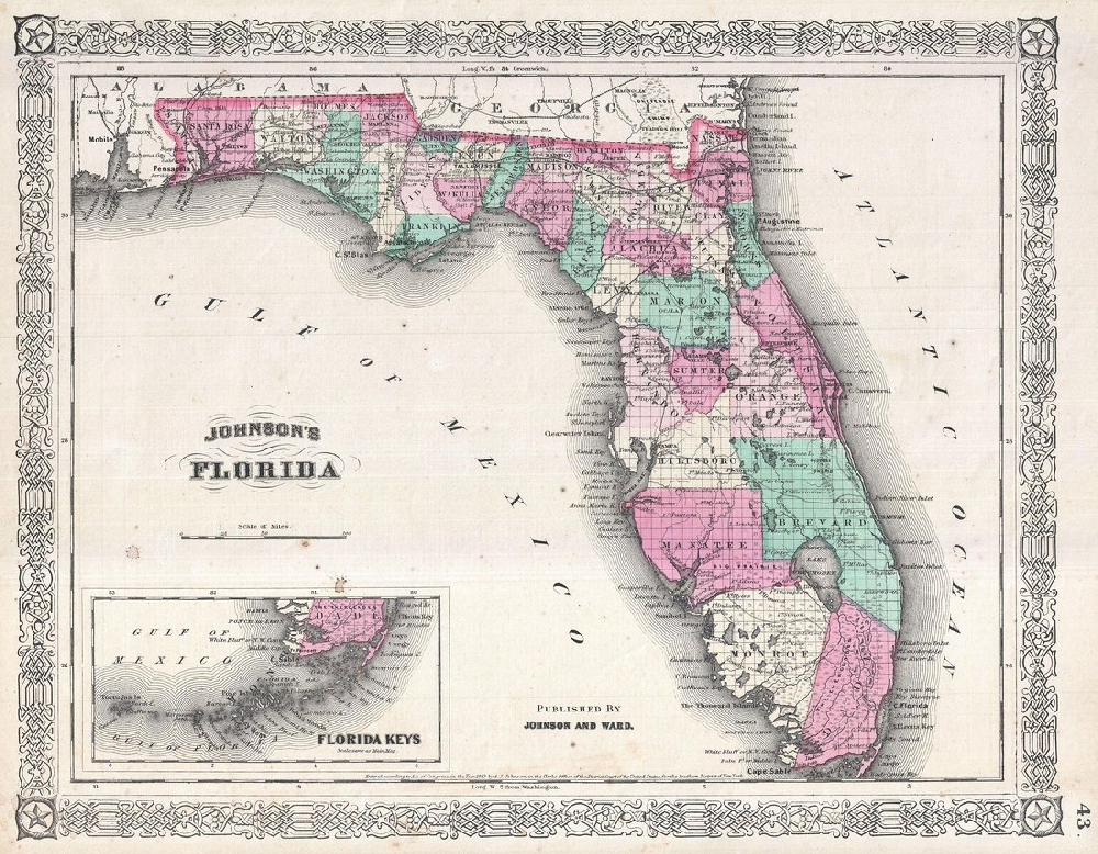 Florida Map Poster, Canvas, Print Sales - Florida Keys Map Poster