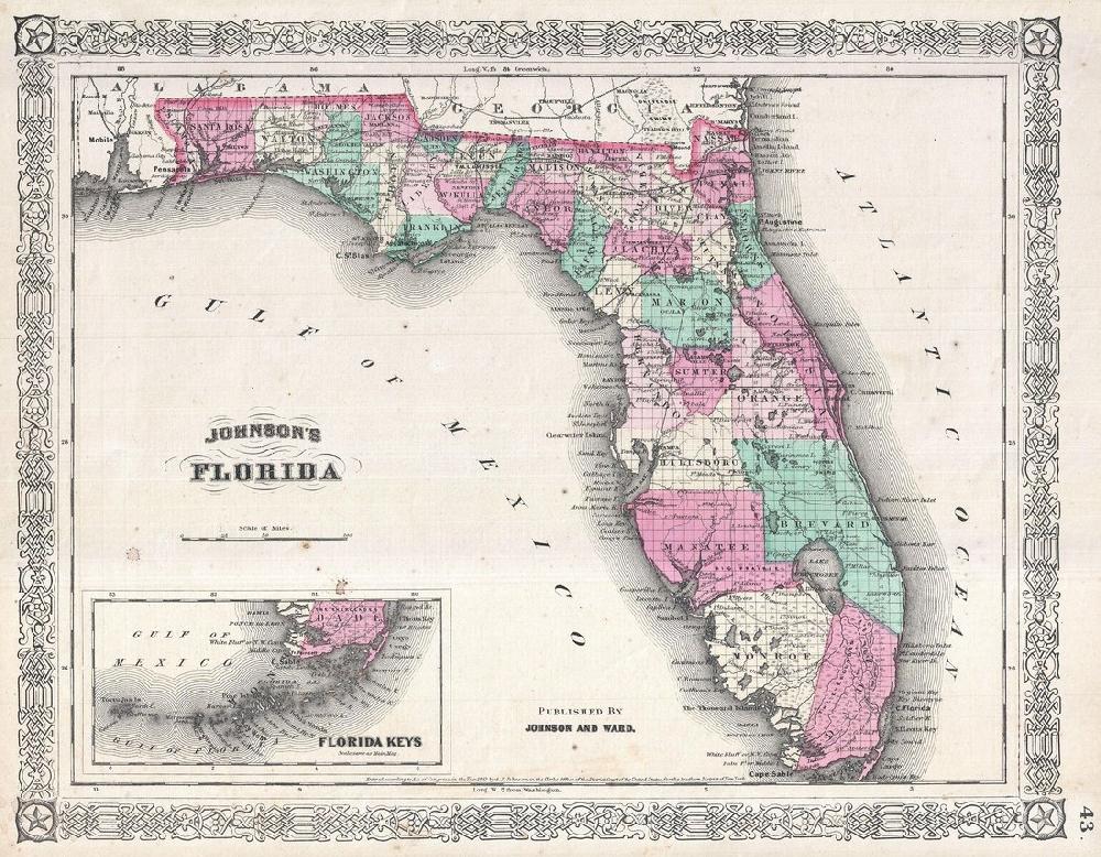 Florida Map Poster, Canvas, Print Sales - Florida Map Poster