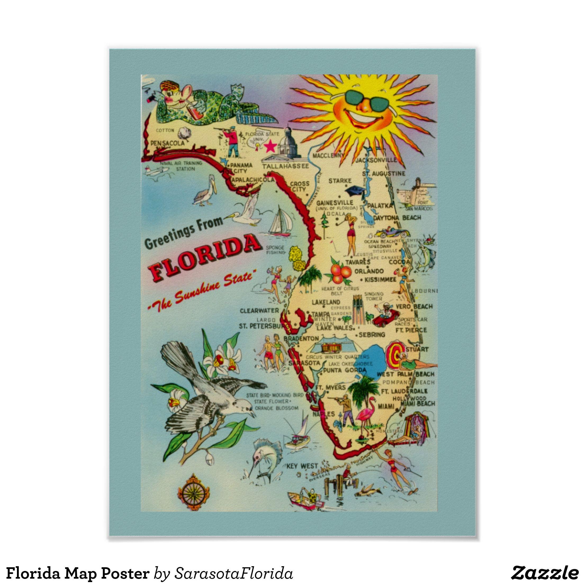 Florida Map Poster | Sarah's Picks For Canal Home Decor. | Rustic - Florida Map Poster