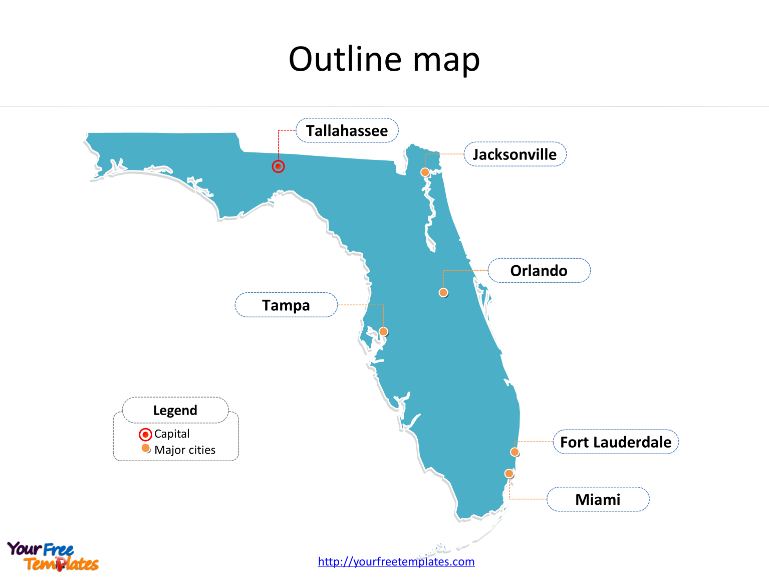 Florida Map Powerpoint Templates - Free Powerpoint Templates - Florida City Map Outline