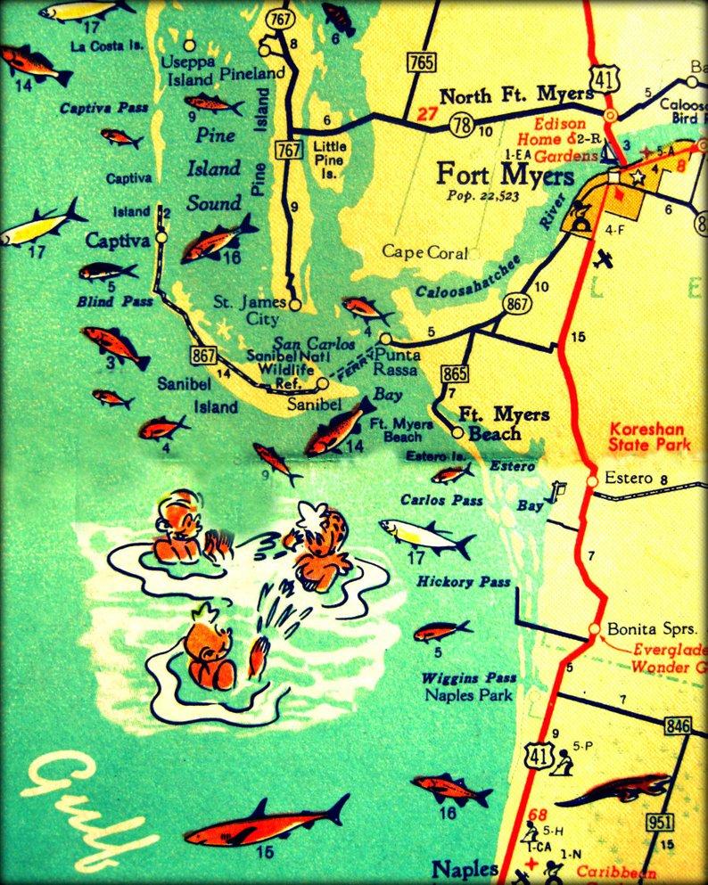 Florida Map Print 11X14 Retro Beach Photo Vintage Vacation | Etsy - Vintage Florida Map Poster