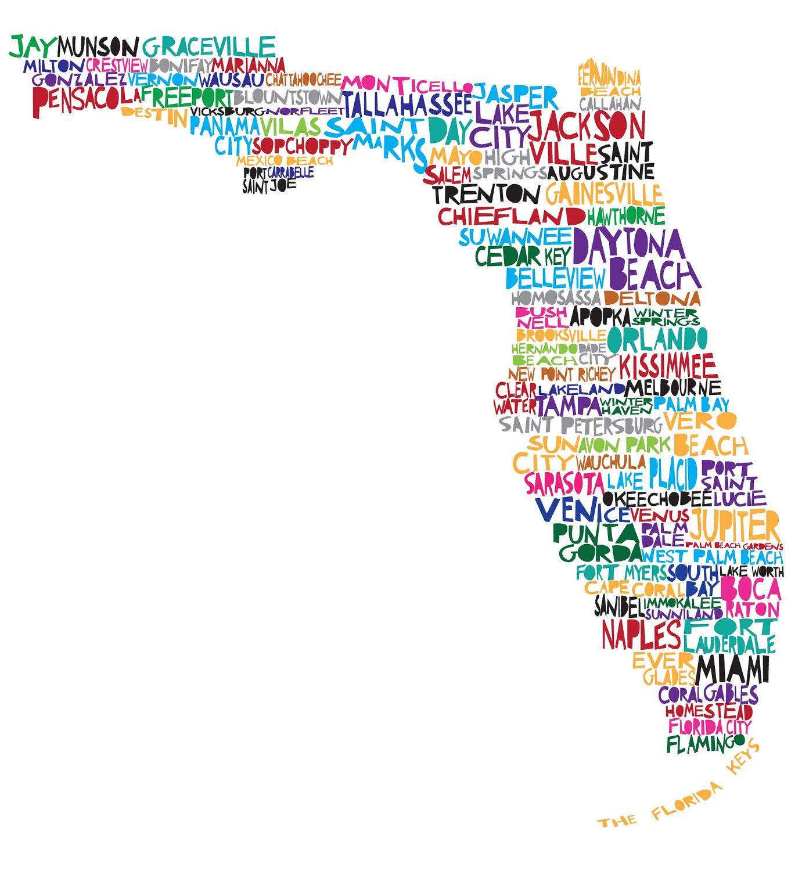 Florida Map | The Modern Southern Gentleman | Beach Decor - Florida Map Art