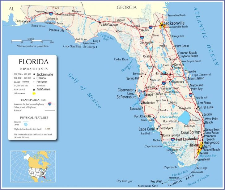 Detailed Road Map Of Florida