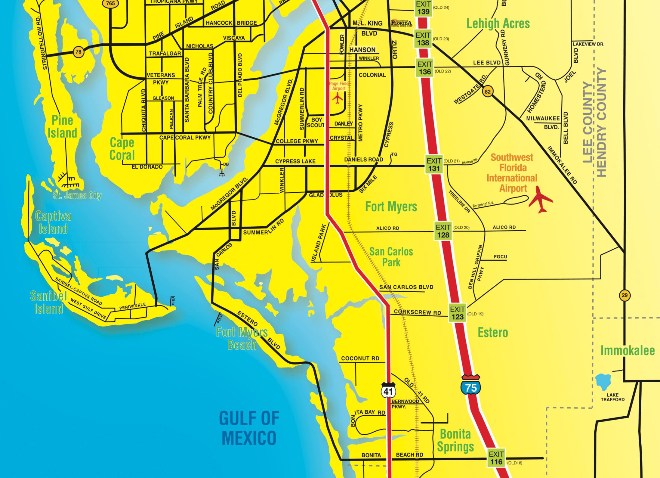 Florida Maps - Southwest Florida Travel - Map Of Sw Florida Beaches
