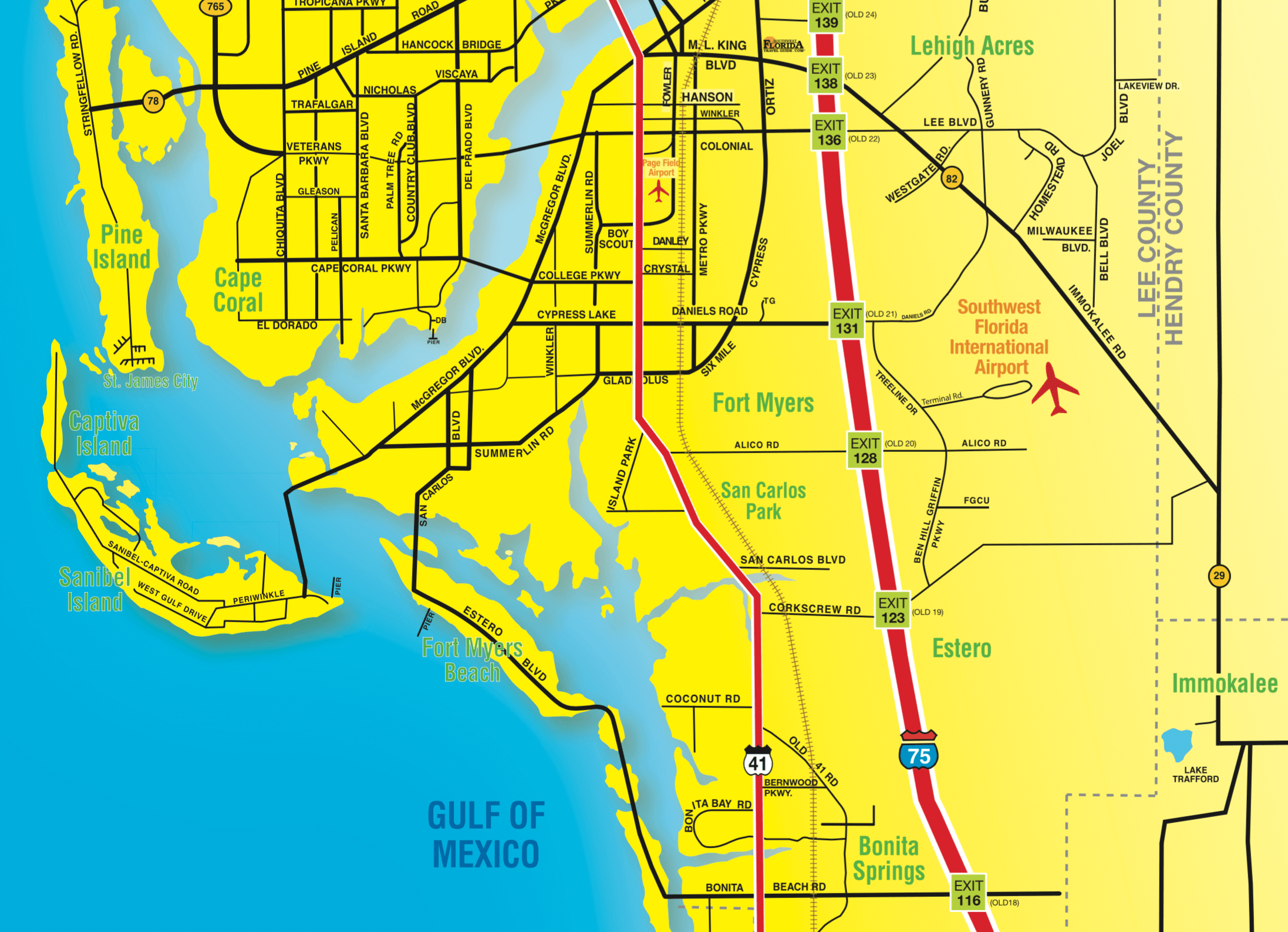 Florida Maps - Southwest Florida Travel - Where Is Port Charlotte Florida On A Map